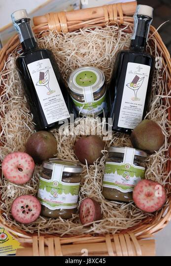 Cocomerina pear liqueur and mush tun from Emilia Romagna,Italy,Europe. - Stock Image