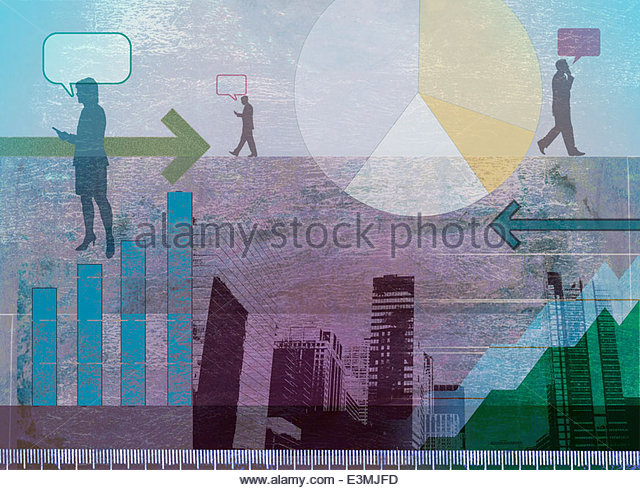 City skyscrapers, graphs, arrows and business people communicating on the move - Stock Image