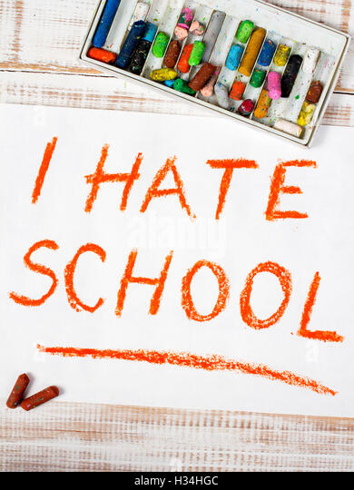 colorful drawing: I  hate school - Stock Image