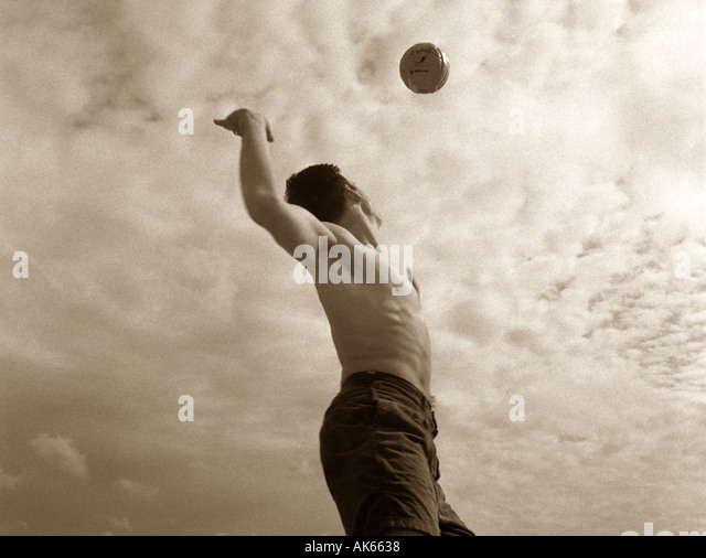 Beach Volleyball serve - Stock Image