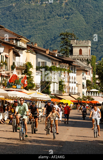Switzerland Ticino Ascona Promenade bicylces - Stock Image