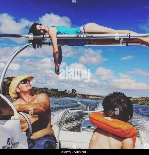 On a boat - Stock Image