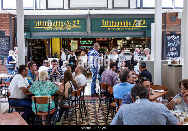 Cape Town South Africa African V & A Victoria Alfred Waterfront shopping restaurant tables eating Willoughby - Stock Image