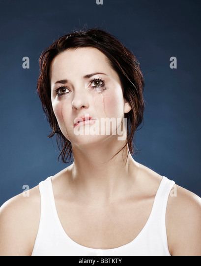 Portrait of a girl crying - Stock Image