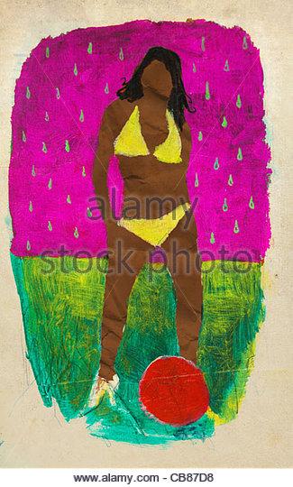 Soccer strawberry model Bikini Collage - Stock Image
