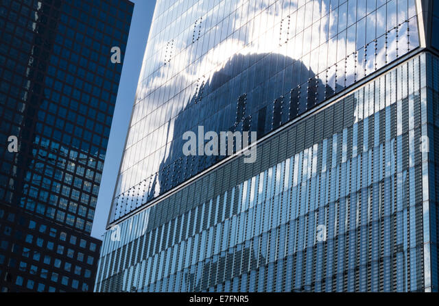 Detail and reflections of the surface of the facade of the Freedom Tower Manhattan near the 9/11 Memorial in New York City Stock Photo