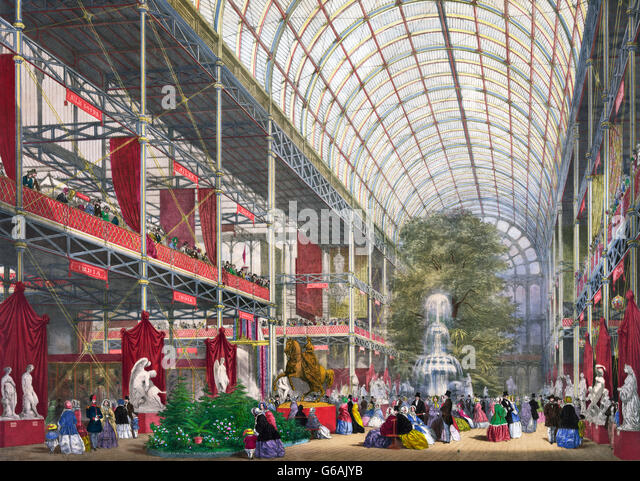 Great Exhibition, 1851. The Transept of The Great Exhibition of 1851, Crystal Palace, London, UK. - Stock Image