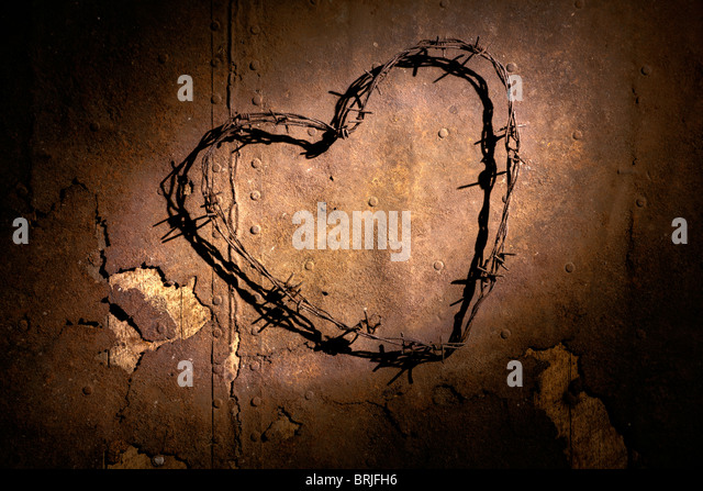 Barbwire heart - Stock Image