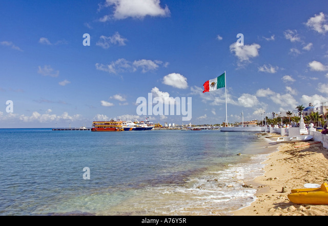 Cozumel Mexico San Miguel town malecon waterfront - Stock Image