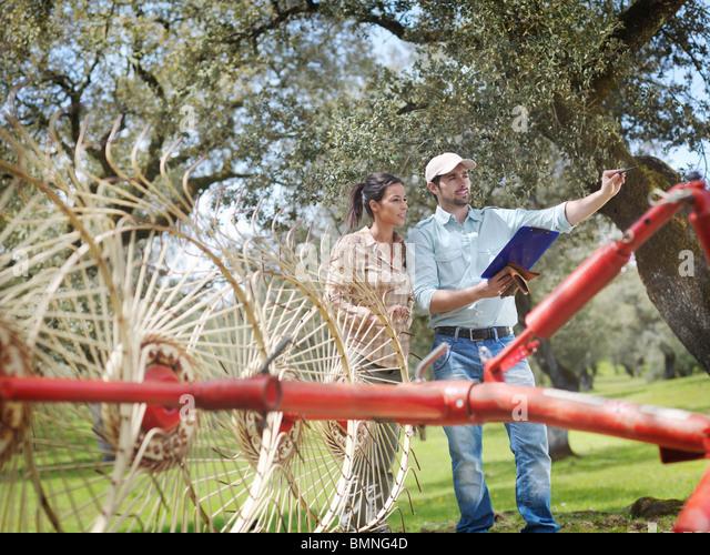 Man and woman on farm with hay rake - Stock Image