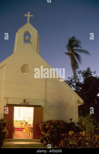 US Virgin Islands St. John Cruz Bay Nazareth Lutheran Church built 1720 bell tower night USVI005 - Stock Image