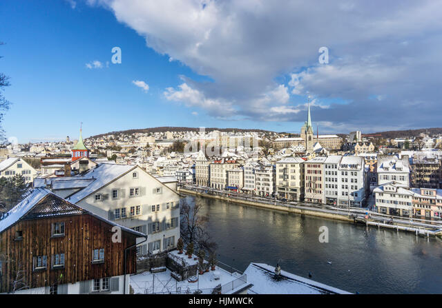 Panoramic view from Lindenhof , river Limmat, winter, snow,  Zurich, Switzerland - Stock Image