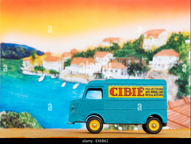 dinky French van with advertising - Stock Image