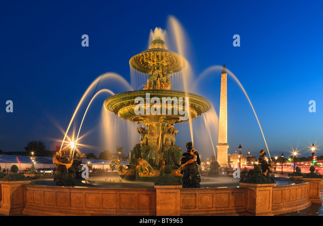 Blue Hour in Paris on Place de la Concorde, with the Obelisik - Stock Image