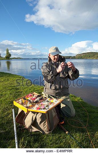 An angler chooses his fishing fly, Scotland - Stock Image