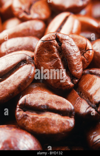 Coffee beans , super macro,vertical - Stock Image
