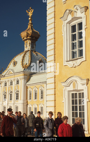 Russia former Soviet Union Peterhoff Petrodvorets Peter the Great Summer Palace tourist - Stock Image