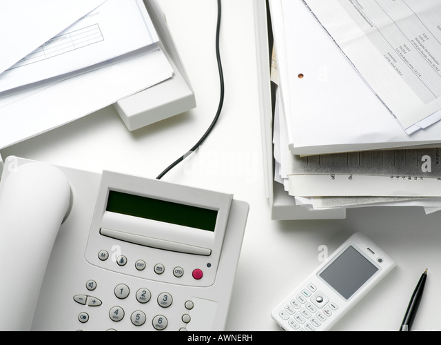 Objects on an office desk - Stock Image