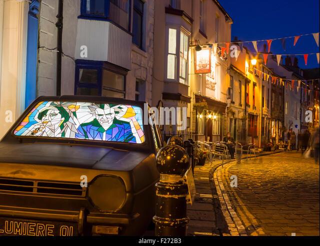 Staithes, North Yorkshire, England, United Kingdom. 12th September, 2015. Light fantastic illumination trail by - Stock-Bilder