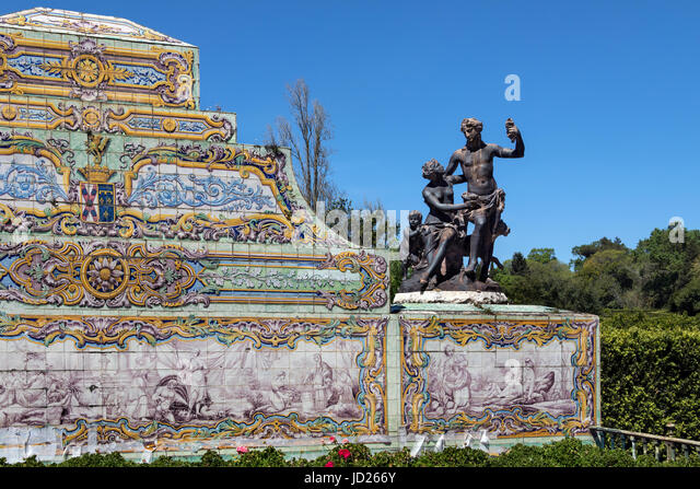 Palace of Queluz - Lisbon - Portugal. Detail on the walls of the canal (which are fed by a stream) are decorated - Stock Image