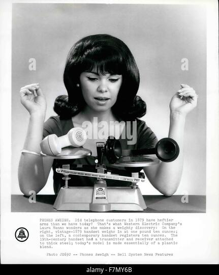 1968 - Phones Aweigh. Did telephone customers in 1879 have heftier arms than we have today? That's what Western - Stock Image