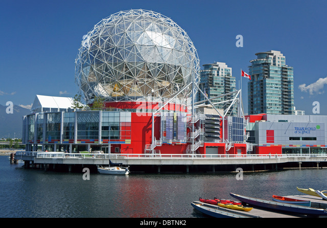 Science World or Telus World of Science on False Creek in Vancouver, BC, Canada - Stock-Bilder