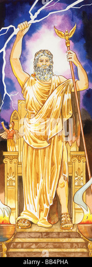 In ancient Greek mythology, Zeus ruled over all the other gods as well as humans. The Romans associated him with - Stock Image