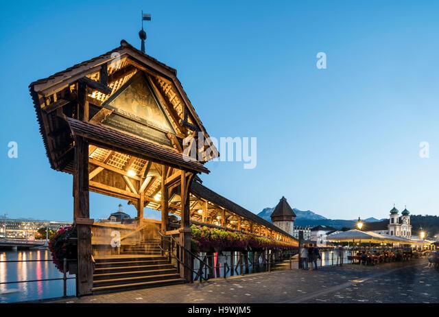 world heritage Chapel Bridge  at dusk, Lucerne, Switzerland - Stock Image