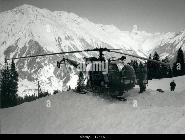 Mar. 03, 1988 - Klosters/Switzerland: Royal Ski Tragedy: A rescue helicopter stands near the place where Prince - Stock Image