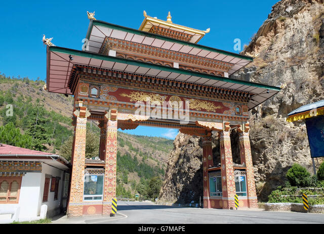 The entrance gate to the Paro Dzongkhag district, Bhutan. - Stock Image