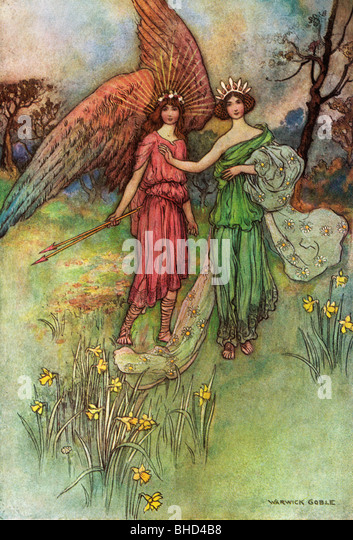 Alceste and the God of Love, by Warwick Goble, from The Complete Poetical Works of Geoffrey Chaucer, 1912. - Stock Image