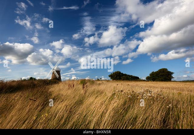 Halnaker windmill standing high up on a hilltop South Downs National Park - Stock-Bilder
