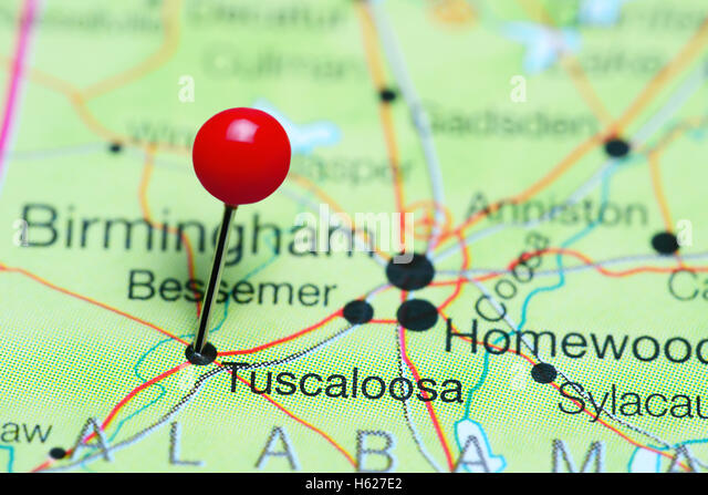 Tuscaloosa pinned on a map of Alabama, USA - Stock Image