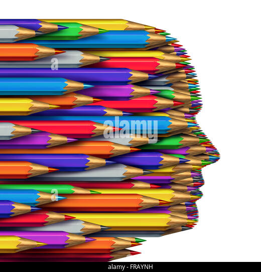 Concept of ideas as a business symbol of creative thinking as a group of colored pencils grouped together to form - Stock Image