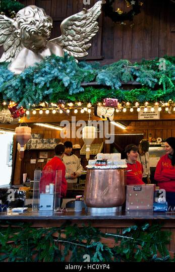 German Christmas Market Mulled Wine Stock Photos & German