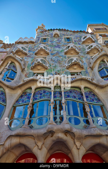Casa Batllo, UNESCO World Heritage Site, Barcelona, Catalonia, Spain - Stock Image