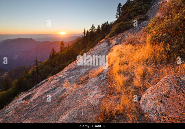 sunset over the Sierra Nevada from Hanging Rock, Sequoia National Park, California, USA - Stock Image