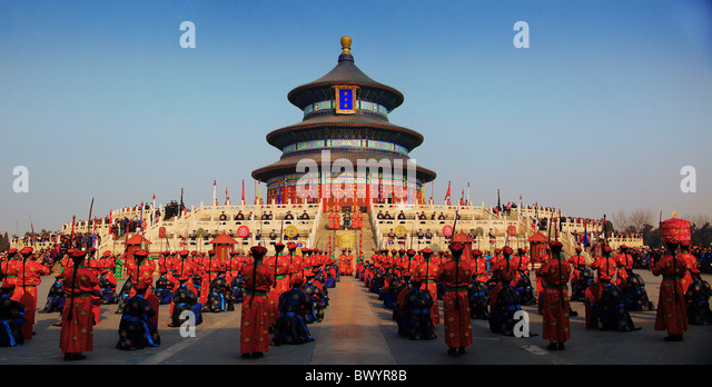 Chinese performing ancient ritual during Spring Festival in Hall of Prayer for Good Harvests, Temple of Heaven, - Stock-Bilder