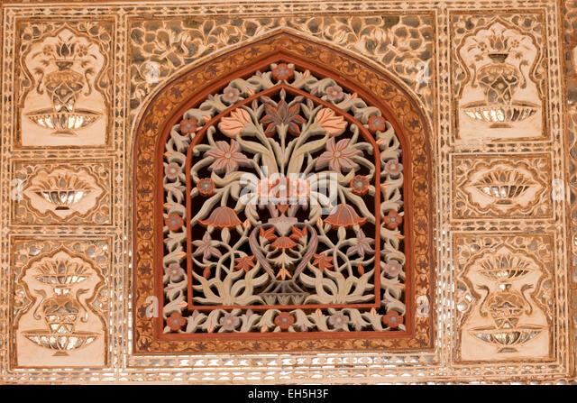 Window detail,  Amber Fort, Jaipur, Rajasthan, India, Asia - Stock-Bilder