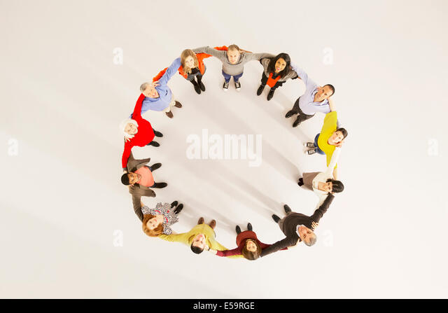 People connected in circle - Stock Image