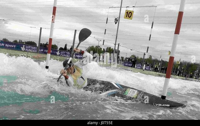 Lee Valley, UK. 16th April, 2017. Great Britain Canoeing Selection Races at Lee Valley White Water Centre Olympic - Stock Image