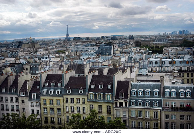 Paris France Cityscape with the Eiffel tower in the distance - Stock Image