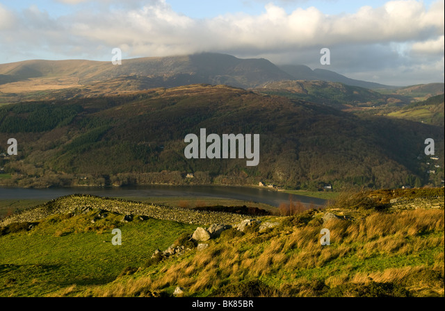 Southern end of the Rhinog mountains over the Mawddach Estuary, near Dolgellau, Snowdonia, North Wales, UK - Stock Image