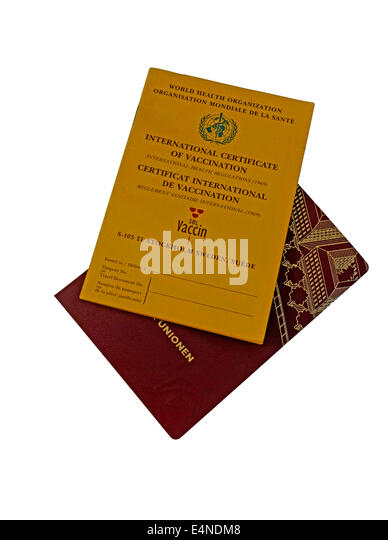 International Vaccination Card and national Swedish passport. - Stock Image