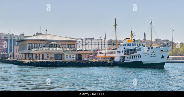 Istanbul, Turkey - April 26, 2017: Ferry boat at Kadikoy Ferry Terminal getting ready for sailing after passengers - Stock Image