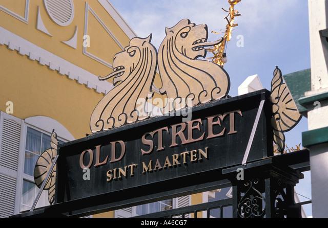 St Maarten Old Street Sint Maarten Shopping Arcade Philipsburg - Stock Image