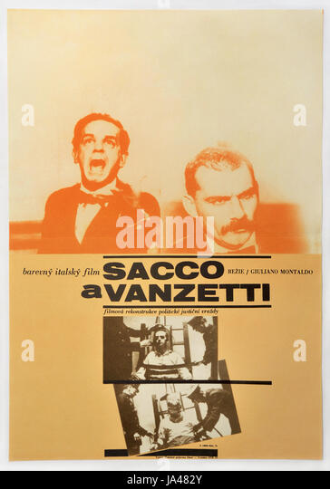 Sacco and Vanzetti. Original Czechoslovak movie poster for Italian drama with Gian Maria Volonte. 1971. - Stock Image
