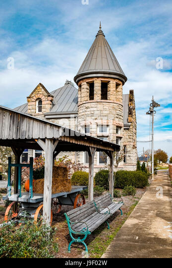 The restored stone railway station and depot in Fort Payne, Alabama, USA. - Stock Image