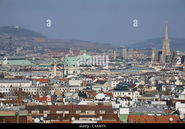 View from the top of the Bahnorama Tower, Vienna, Austria, Europe - Stock Image