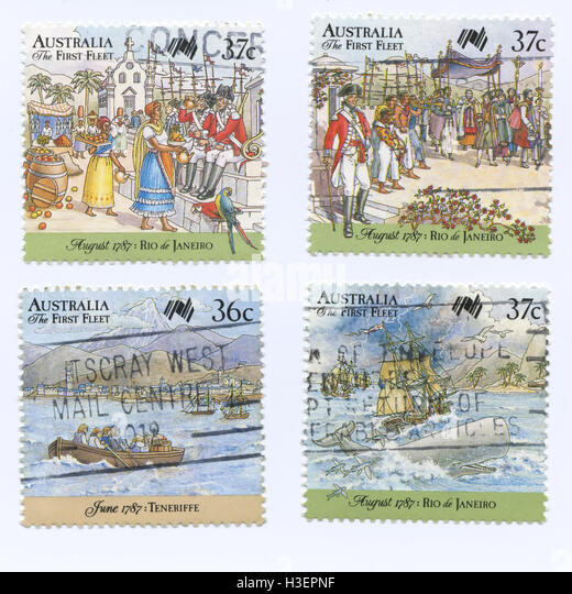 Set of Australia the First Fleet Stamps, shipping and exploring events - Stock Image